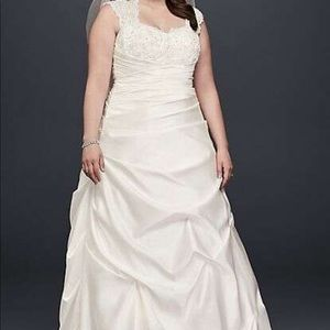 David's Bridal Cap Sleeve Satin A-Line Wedding